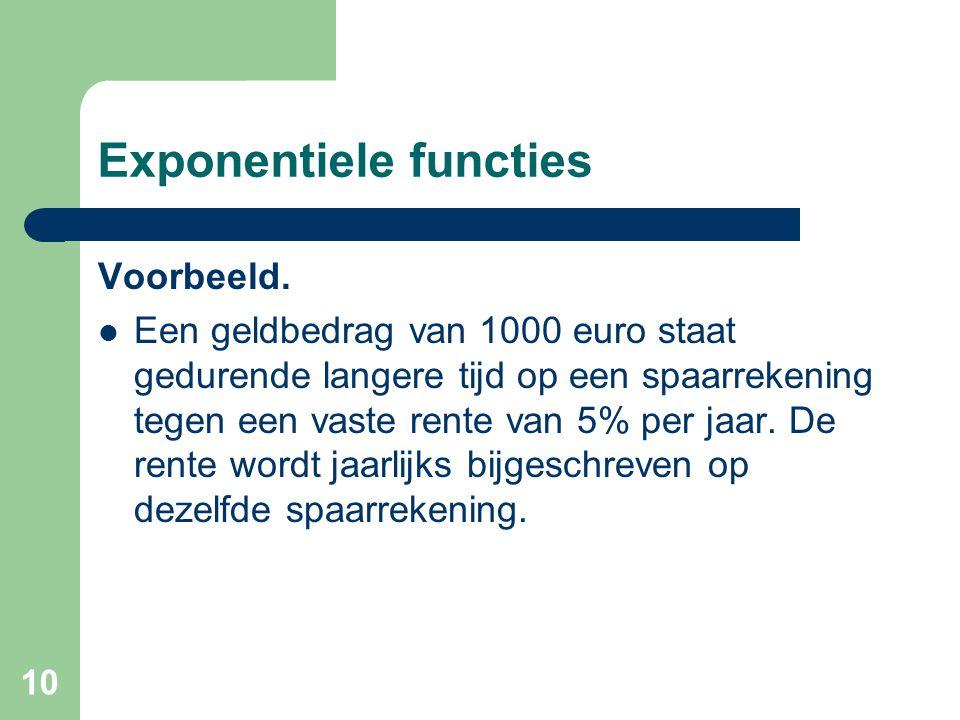 10 Exponentiele functies Voorbeeld. Een geldbedrag van 1000 euro staat gedurende langere tijd op een spaarrekening tegen een vaste rente van 5% per ja