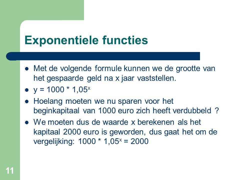 11 Exponentiele functies Met de volgende formule kunnen we de grootte van het gespaarde geld na x jaar vaststellen. y = 1000 * 1,05 x Hoelang moeten w