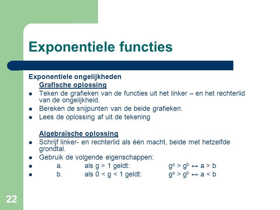 22 Exponentiele functies Exponentiele ongelijkheden Grafische oplossing Teken de grafieken van de functies uit het linker – en het rechterlid van de o