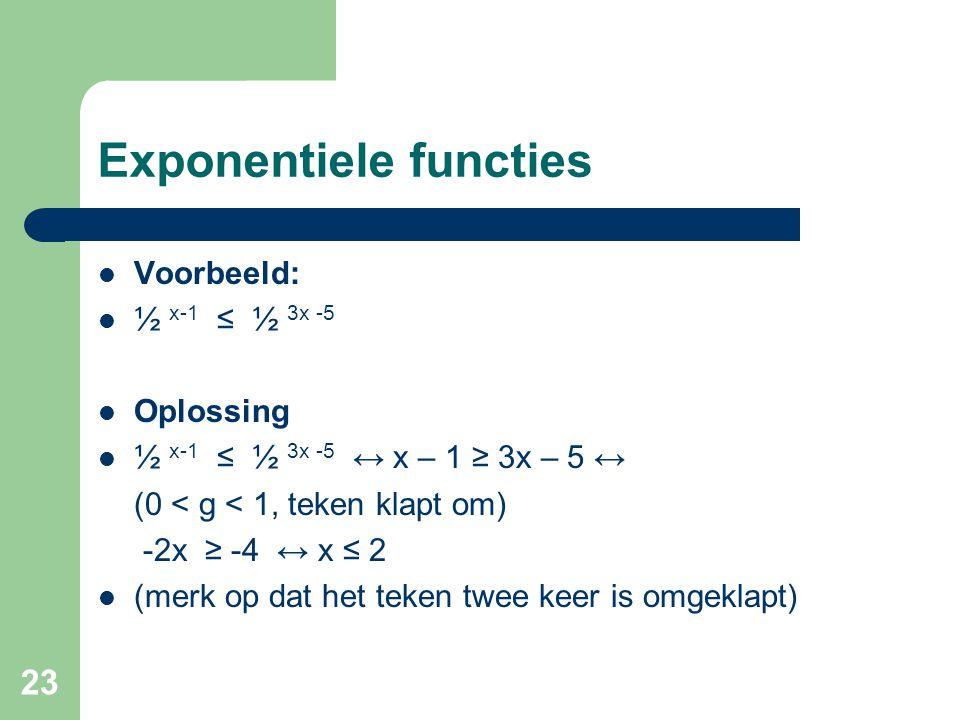 23 Exponentiele functies Voorbeeld: ½ x-1 ≤ ½ 3x -5 Oplossing ½ x-1 ≤ ½ 3x -5 ↔ x – 1 ≥ 3x – 5 ↔ (0 < g < 1, teken klapt om) -2x ≥ -4 ↔ x ≤ 2 (merk op