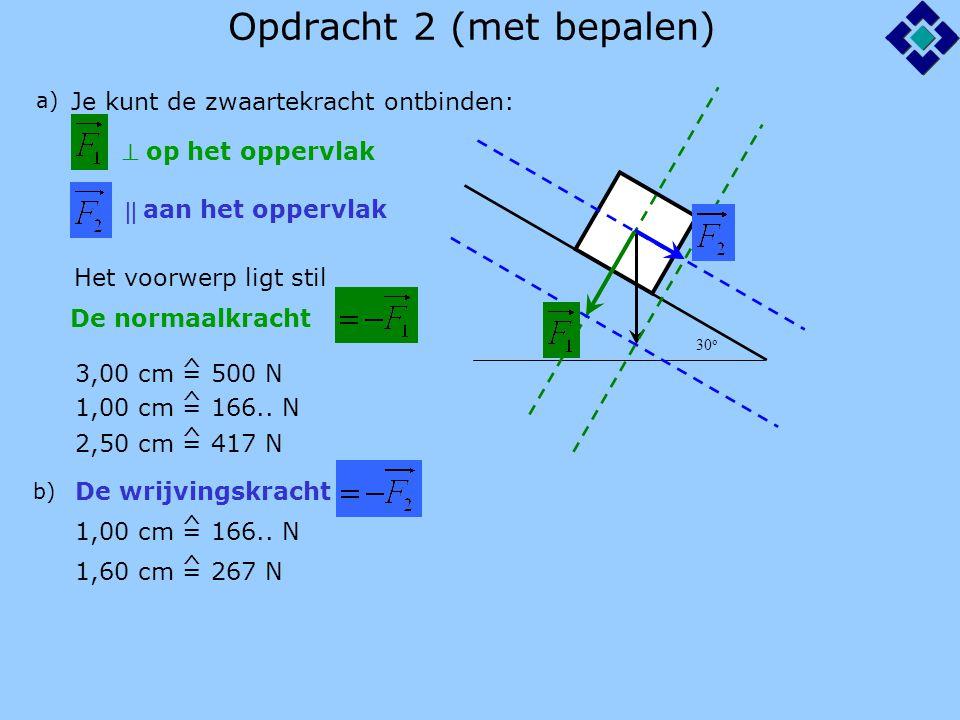 Opdracht 2 (met bepalen) 30 o a) Je kunt de zwaartekracht ontbinden:  op het oppervlak  aan het oppervlak De normaalkracht Het voorwerp ligt stil 3,00 cm = 500 N ^ 1,00 cm = 166..