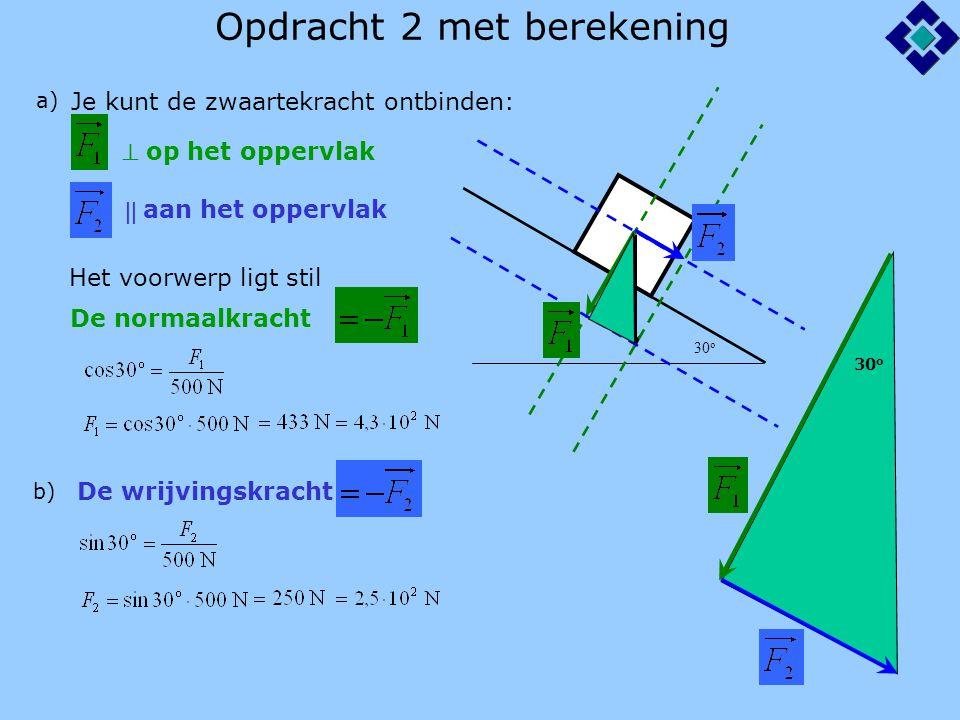 Opdracht 2 met berekening 30 o a) Je kunt de zwaartekracht ontbinden:  op het oppervlak  aan het oppervlak De normaalkracht Het voorwerp ligt stil b) De wrijvingskracht 30 o