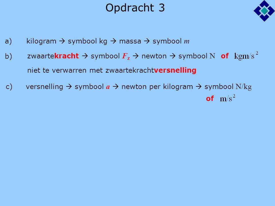 Opdracht 3 a) kilogram  symbool kg  massa  symbool m b) zwaartekracht  symbool F z  newton  symbool N of c) niet te verwarren met zwaartekrachtv