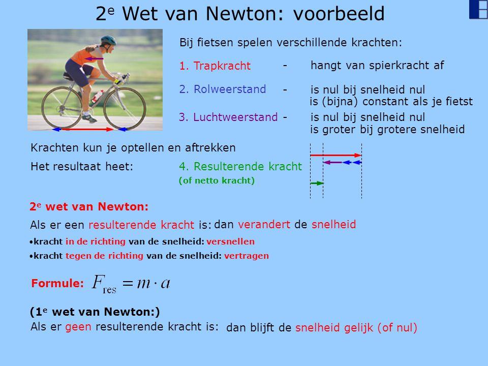 2 e Wet van Newton: voorbeeld Bij fietsen spelen verschillende krachten: 1. Trapkracht 2. Rolweerstand - is nul bij snelheid nul 3. Luchtweerstand - i