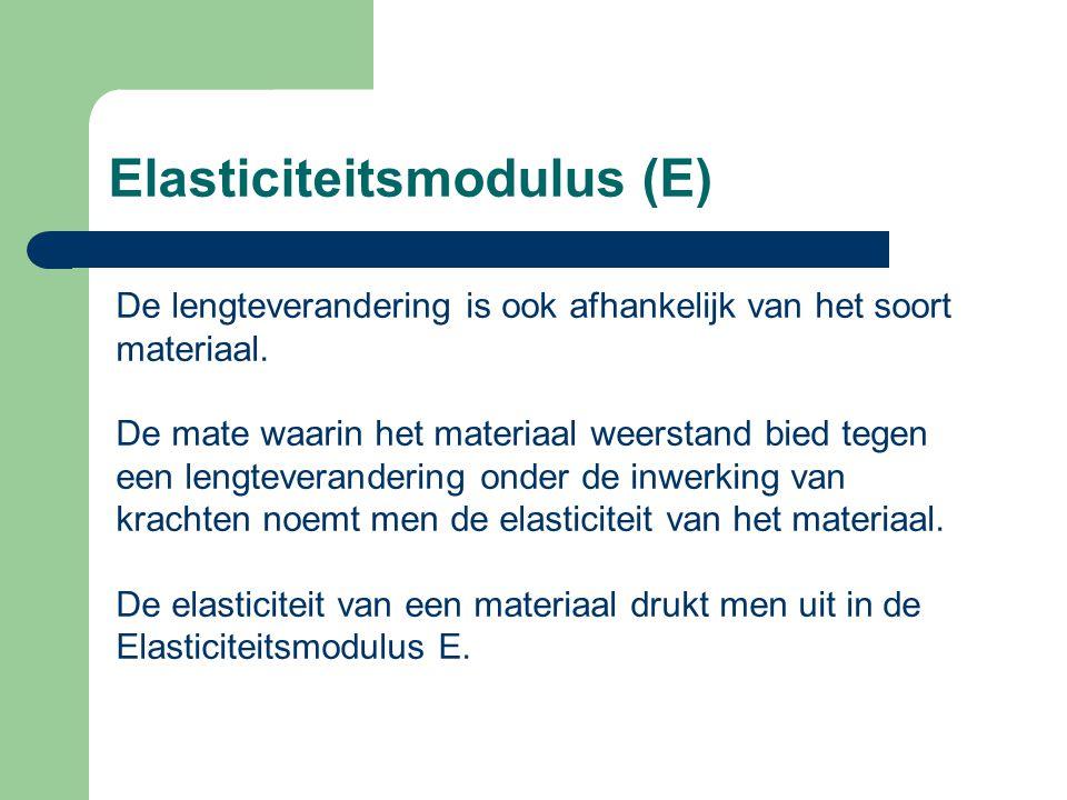 Elasticiteitsmodulus (E) De lengteverandering is ook afhankelijk van het soort materiaal.