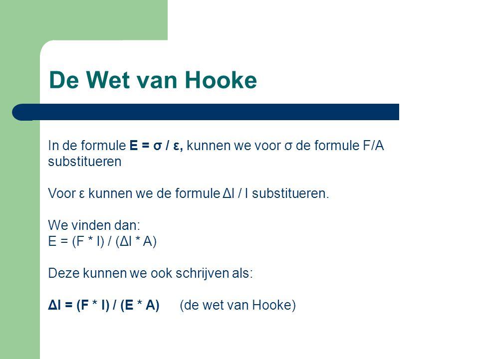 De Wet van Hooke In de formule E = σ / ε, kunnen we voor σ de formule F/A substitueren Voor ε kunnen we de formule Δl / l substitueren.
