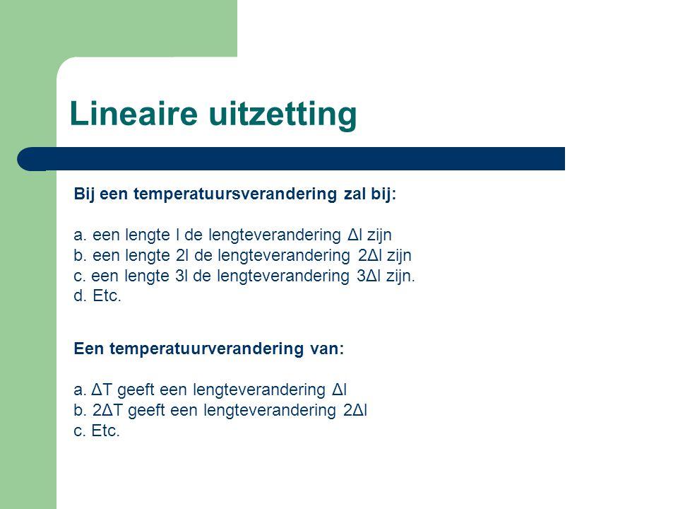 Lineaire uitzetting Bij een temperatuursverandering zal bij: a.