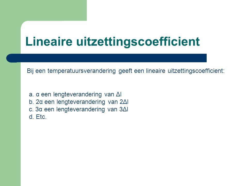 Lineaire uitzettingscoefficient Bij een temperatuursverandering geeft een lineaire uitzettingscoefficient: a.