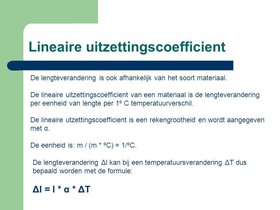 Lineaire uitzettingscoefficient De lengteverandering is ook afhankelijk van het soort materiaal.