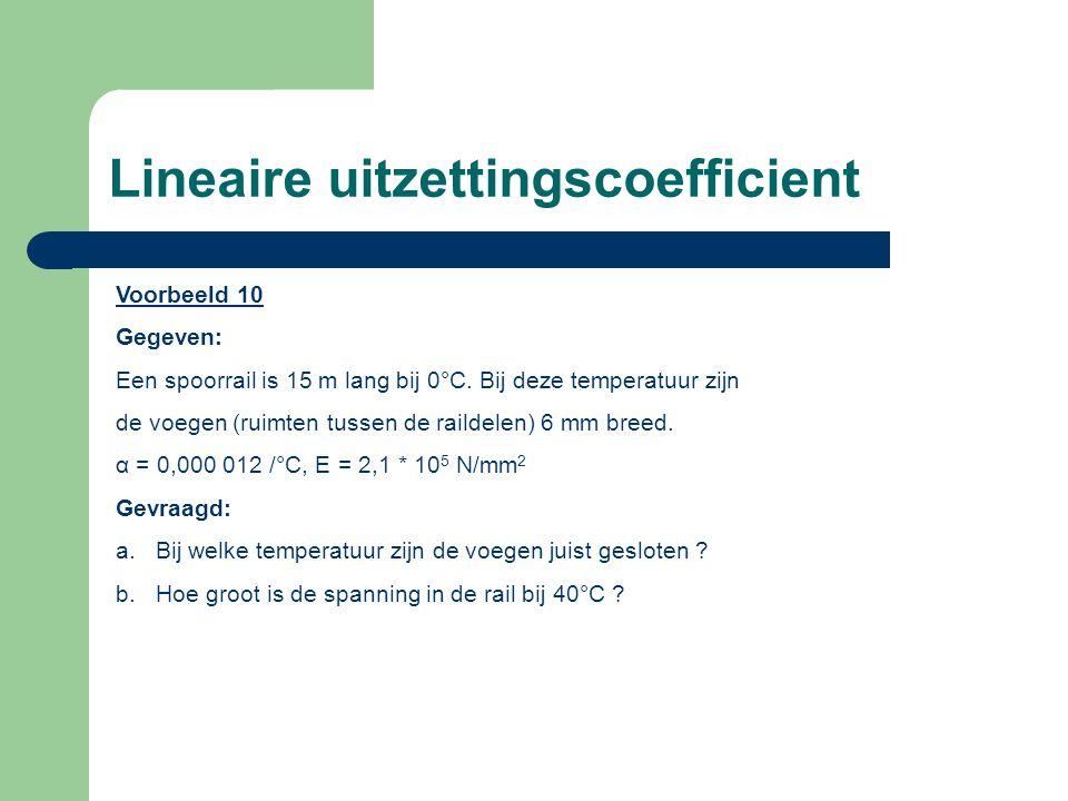 Lineaire uitzettingscoefficient Voorbeeld 10 Gegeven: Een spoorrail is 15 m lang bij 0°C.