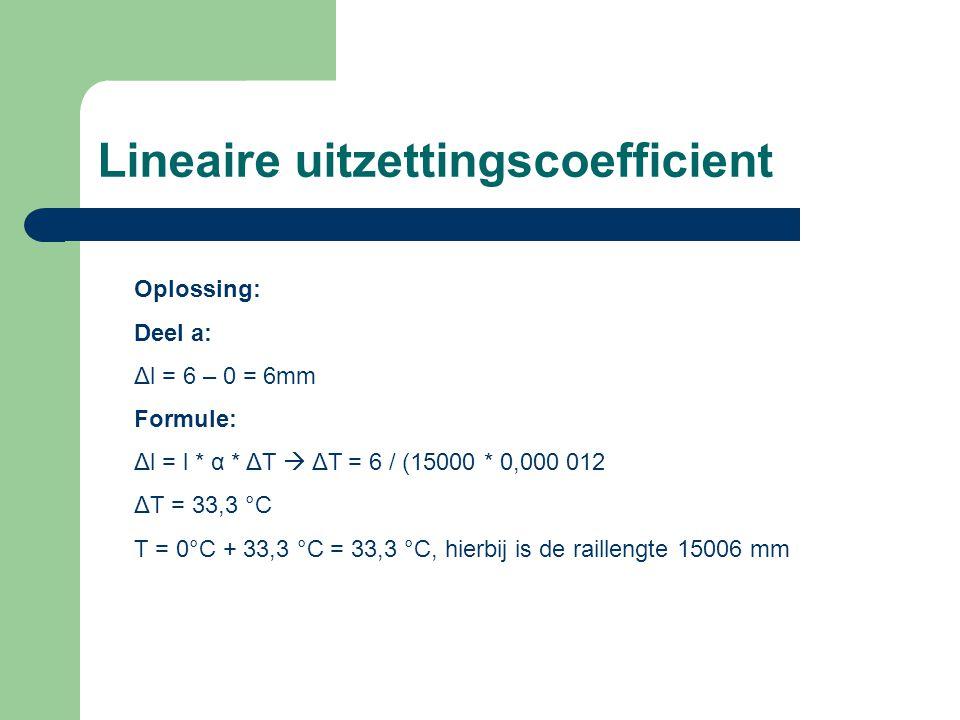 Lineaire uitzettingscoefficient Oplossing: Deel a: Δl = 6 – 0 = 6mm Formule: Δl = l * α * ΔT  ΔT = 6 / (15000 * 0,000 012 ΔT = 33,3 °C T = 0°C + 33,3 °C = 33,3 °C, hierbij is de raillengte 15006 mm