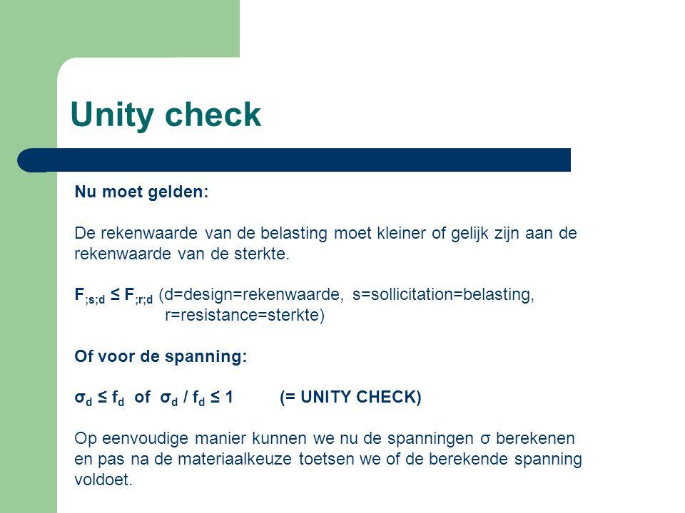 Unity check Nu moet gelden: De rekenwaarde van de belasting moet kleiner of gelijk zijn aan de rekenwaarde van de sterkte.