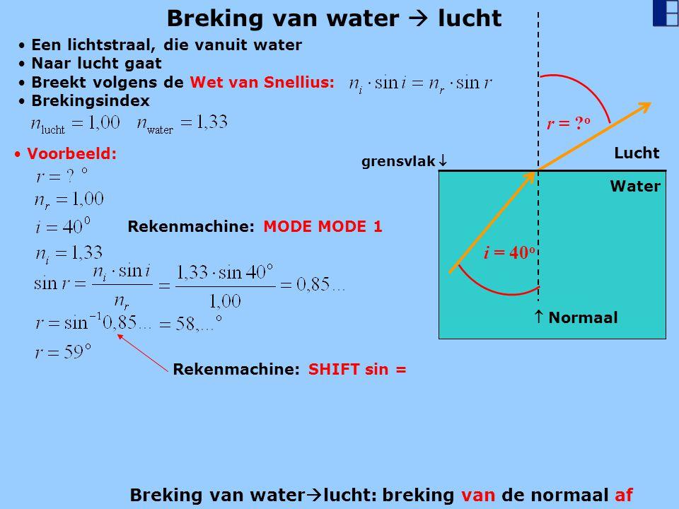 Breking van water  lucht i = 40 o Water r = ? o  Normaal Een lichtstraal, die vanuit water Naar lucht gaat Breekt volgens de Wet van Snellius: Voorb