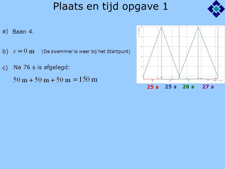 Plaats en tijd opgave 2 tijd (min) 5 10 15 0 0 1 2 3 4 5 plaats (km) a) Femke Martijn (Femke's huis mag ook bij 5 km en Martijn's huis bij 0 km) b) (Martijn blijft 5 min op dezelfde plaats) c) (2 hokjes = 1,0 min) Na 9,0 min d) (1 hokje = 0,2 km) Op 2,0 km van Martijn's huis