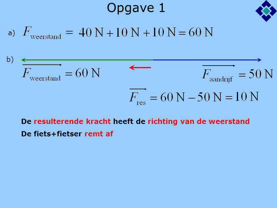 Opgave 1 a) b) De fiets+fietser remt af De resulterende kracht heeft de richting van de weerstand