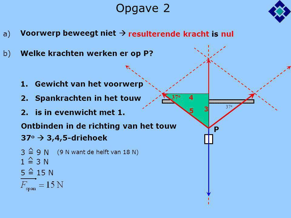 Opgave 2 37 o a) Voorwerp beweegt niet  resulterende kracht is nul 37 o 3 4 5 b) Welke krachten werken er op P? P 1.Gewicht van het voorwerp 2.Spankr