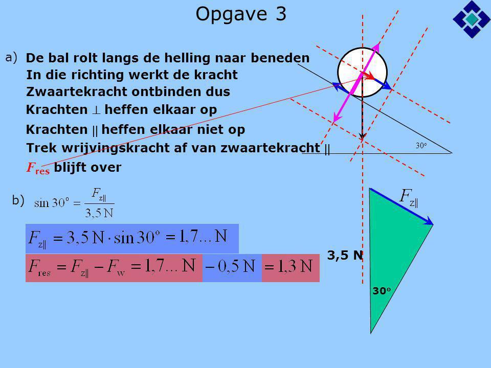 Opgave 3 30 o a) De bal rolt langs de helling naar beneden In die richting werkt de kracht Zwaartekracht ontbinden dus Krachten  heffen elkaar op Kra