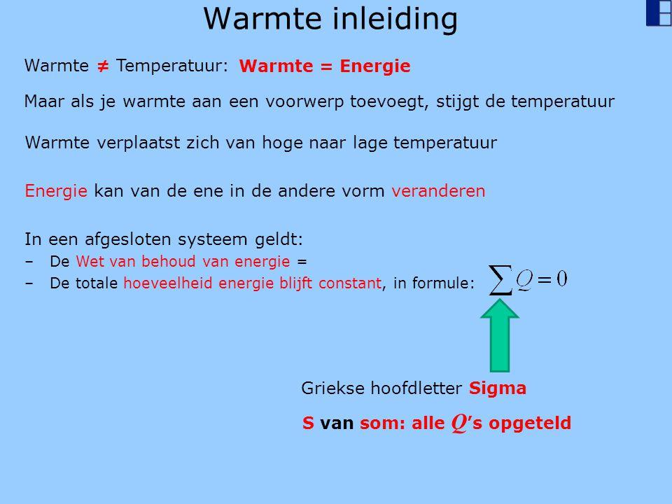 Warmte inleiding Warmte ≠ Temperatuur: Warmte = Energie Maar als je warmte aan een voorwerp toevoegt, stijgt de temperatuur Warmte verplaatst zich van