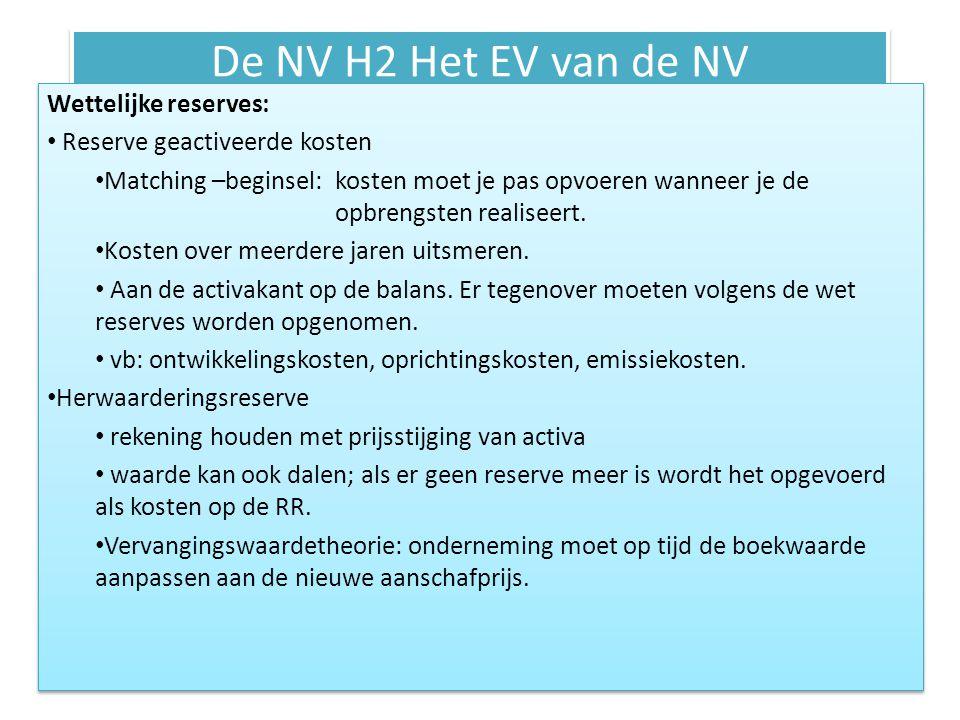De NV H2 Het EV van de NV Wettelijke reserves: Reserve geactiveerde kosten Matching –beginsel: kosten moet je pas opvoeren wanneer je de opbrengsten r