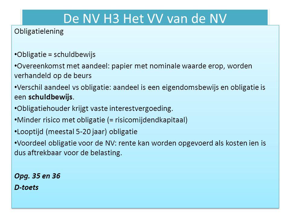 De NV H3 Het VV van de NV Obligatielening Obligatie = schuldbewijs Overeenkomst met aandeel: papier met nominale waarde erop, worden verhandeld op de