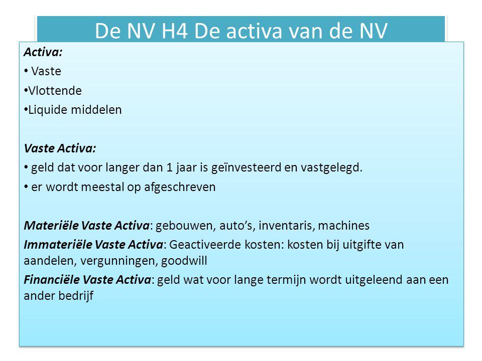 De NV H4 De activa van de NV Activa: Vaste Vlottende Liquide middelen Vaste Activa: geld dat voor langer dan 1 jaar is geïnvesteerd en vastgelegd. er