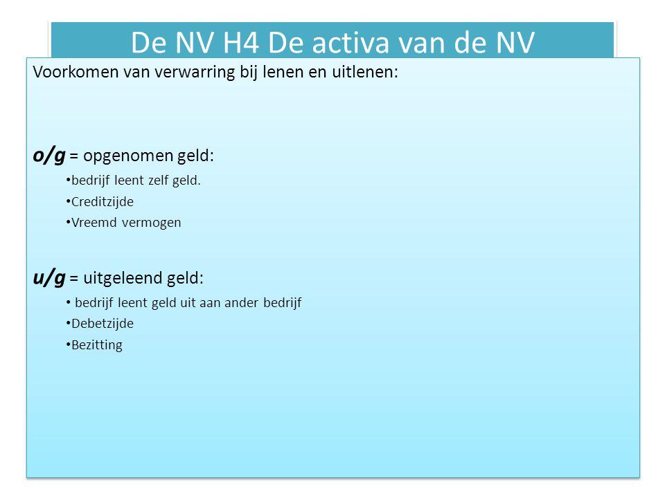 De NV H4 De activa van de NV Voorkomen van verwarring bij lenen en uitlenen: o/g = opgenomen geld: bedrijf leent zelf geld. Creditzijde Vreemd vermoge