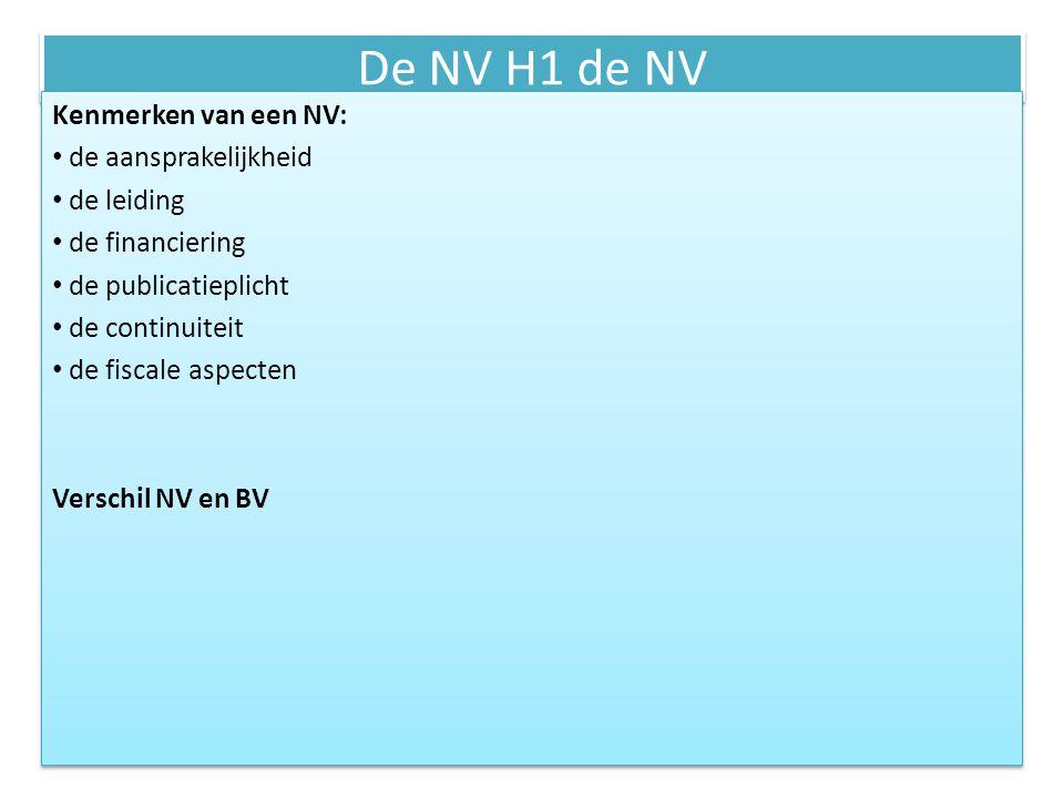 De NV H1 de NV Kenmerken van een NV: de aansprakelijkheid de leiding de financiering de publicatieplicht de continuiteit de fiscale aspecten Verschil