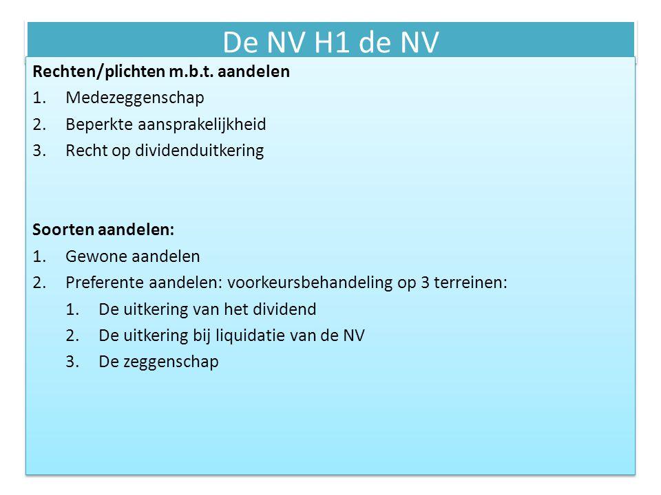 De NV H1 de NV Rechten/plichten m.b.t. aandelen 1.Medezeggenschap 2.Beperkte aansprakelijkheid 3.Recht op dividenduitkering Soorten aandelen: 1.Gewone