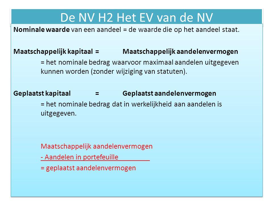 De NV H2 Het EV van de NV Het uitgeven van aandelen = emissie = het uitgeven van aandelen die in portefeuille zitten.