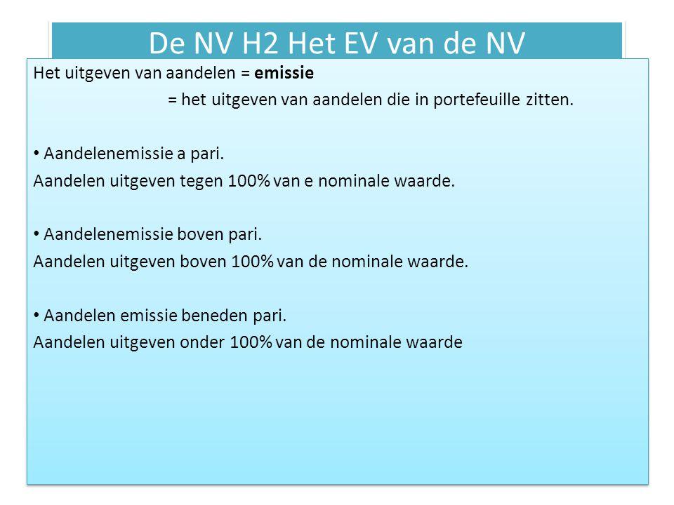 De NV H2 Het EV van de NV Het uitgeven van aandelen = emissie = het uitgeven van aandelen die in portefeuille zitten. Aandelenemissie a pari. Aandelen