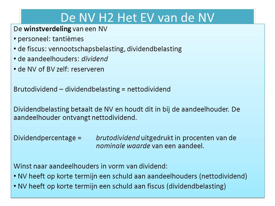 De NV H2 Het EV van de NV De winstverdeling van een NV personeel: tantièmes de fiscus: vennootschapsbelasting, dividendbelasting de aandeelhouders: di
