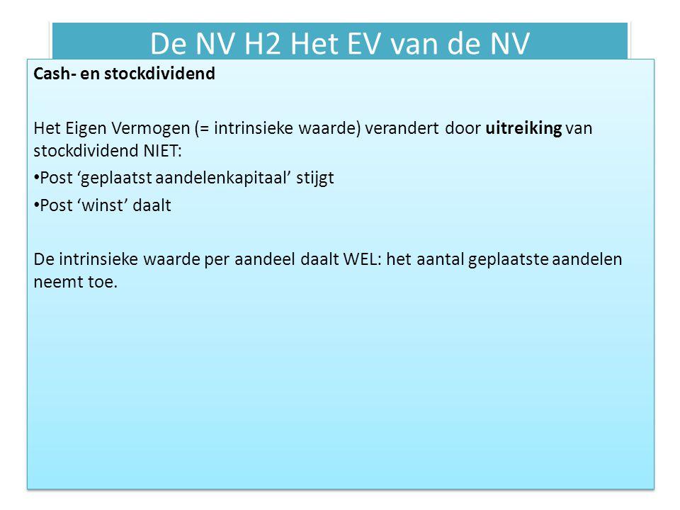 De NV H2 Het EV van de NV Cash- en stockdividend Het Eigen Vermogen (= intrinsieke waarde) verandert door uitreiking van stockdividend NIET: Post 'gep