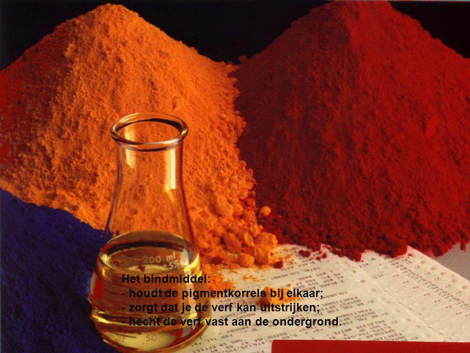 Het bindmiddel: - houdt de pigmentkorrels bij elkaar; - zorgt dat je de verf kan uitstrijken; - hecht de verf vast aan de ondergrond.
