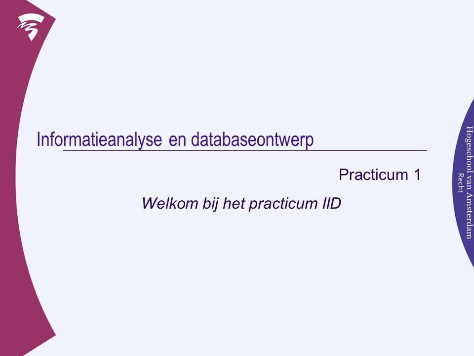 Informatieanalyse en databaseontwerp Practicum 1 Welkom bij het practicum IID