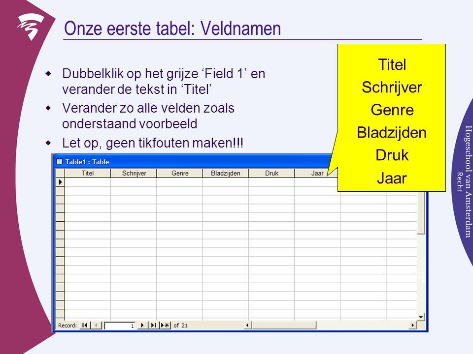 Onze eerste tabel: Veldnamen  Dubbelklik op het grijze 'Field 1' en verander de tekst in 'Titel'  Verander zo alle velden zoals onderstaand voorbeeld  Let op, geen tikfouten maken!!.