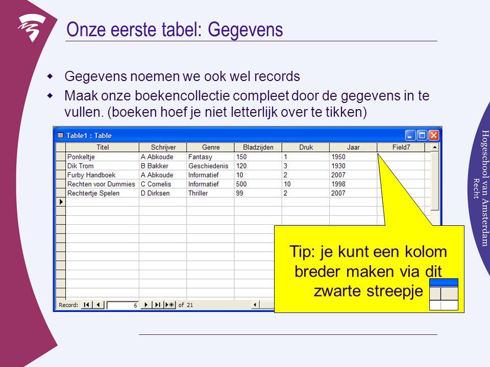 Onze eerste tabel: Gegevens  Gegevens noemen we ook wel records  Maak onze boekencollectie compleet door de gegevens in te vullen.