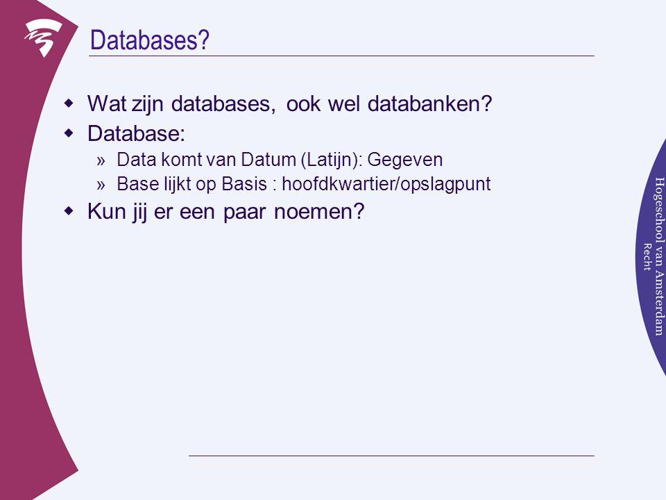 Databases.  Wat zijn databases, ook wel databanken.