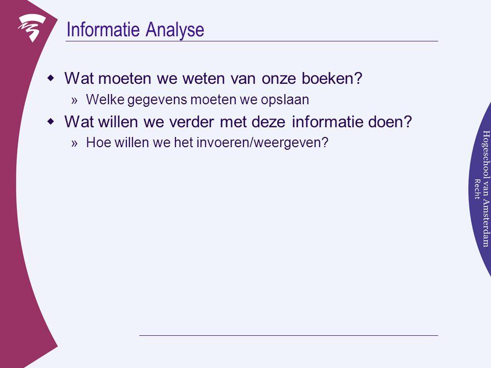 Informatie Analyse  Wat moeten we weten van onze boeken.
