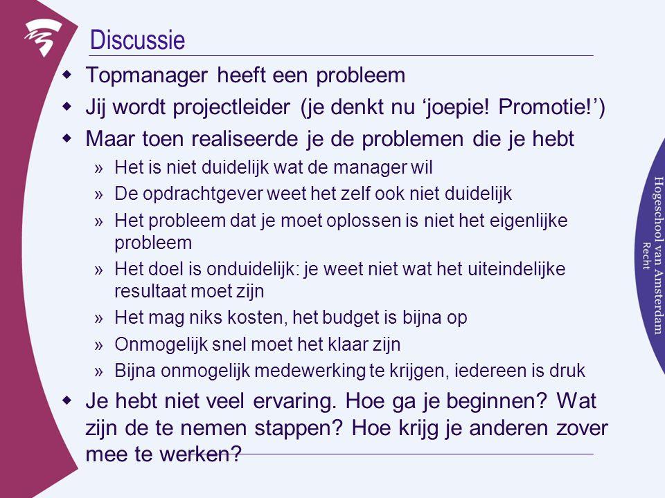 Discussie  Topmanager heeft een probleem  Jij wordt projectleider (je denkt nu 'joepie! Promotie!')  Maar toen realiseerde je de problemen die je h