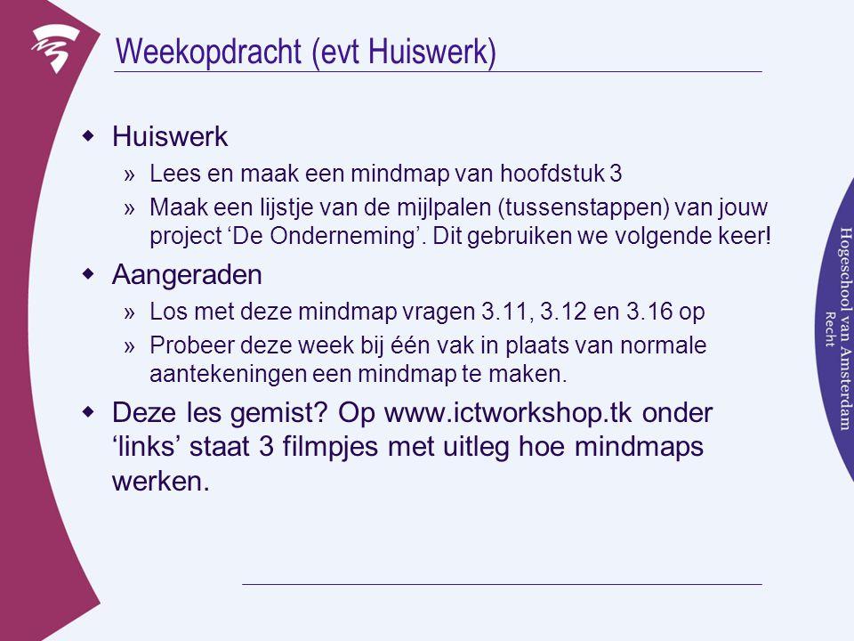 Weekopdracht (evt Huiswerk)  Huiswerk »Lees en maak een mindmap van hoofdstuk 3 »Maak een lijstje van de mijlpalen (tussenstappen) van jouw project '