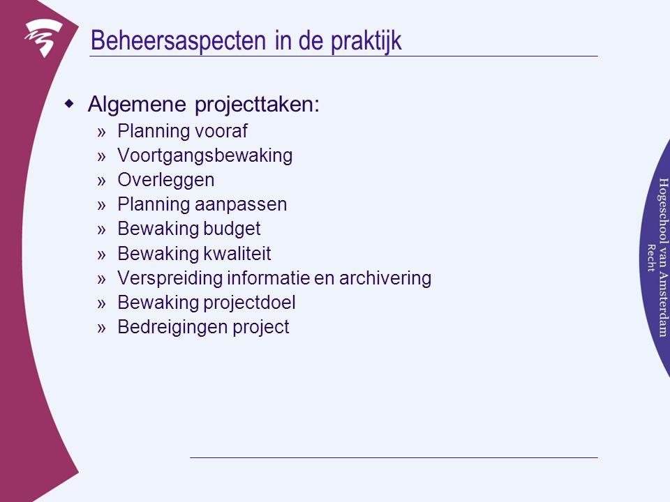 Beheersaspecten in de praktijk  Algemene projecttaken: »Planning vooraf »Voortgangsbewaking »Overleggen »Planning aanpassen »Bewaking budget »Bewakin
