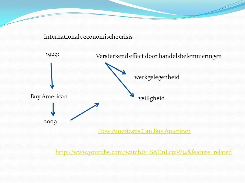 Internationale economische crisis 1929: Versterkend effect door handelsbelemmeringen werkgelegenheid veiligheid Buy American 2009 How Americans Can Bu