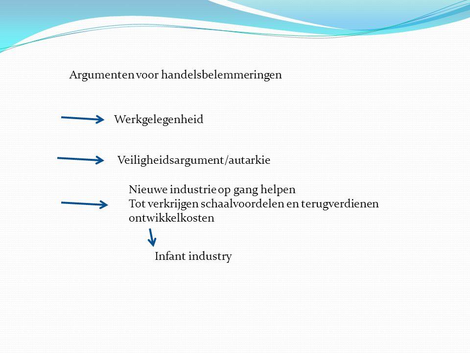 Argumenten voor handelsbelemmeringen Werkgelegenheid Veiligheidsargument/autarkie Nieuwe industrie op gang helpen Tot verkrijgen schaalvoordelen en te