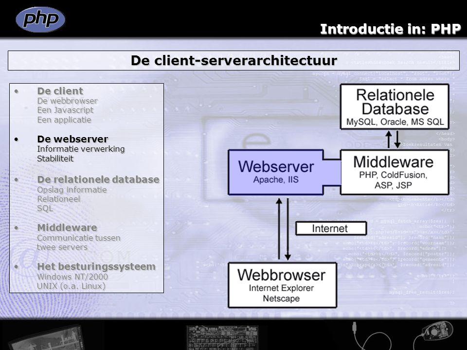 Introductie in: PHP De client-serverarchitectuur De clientDe client De webbrowser Een Javascript Een applicatie De webserverDe webserver Informatie ve