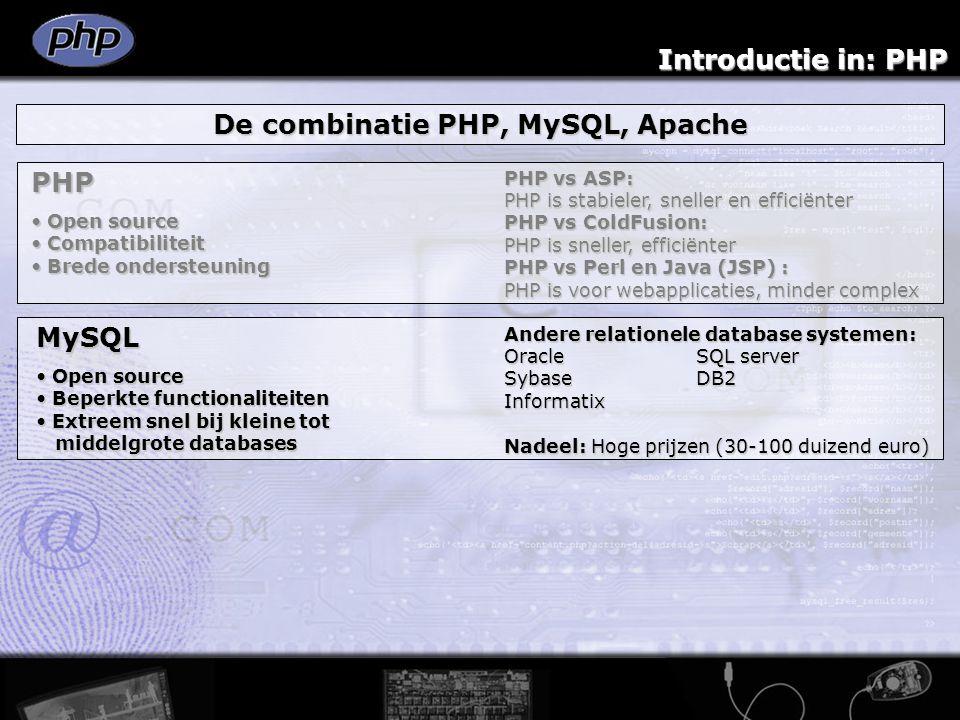 Introductie in: PHP De combinatie PHP, MySQL, Apache PHP Open source Open source Compatibiliteit Compatibiliteit Brede ondersteuning Brede ondersteuning PHP vs ASP: PHP is stabieler, sneller en efficiënter PHP vs ColdFusion: PHP is sneller, efficiënter PHP vs Perl en Java (JSP) : PHP is voor webapplicaties, minder complex MySQL Open source Open source Beperkte functionaliteiten Beperkte functionaliteiten Extreem snel bij kleine tot Extreem snel bij kleine tot middelgrote databases middelgrote databases Andere relationele database systemen: OracleSQL server SybaseDB2 Informatix Nadeel: Hoge prijzen (30-100 duizend euro)
