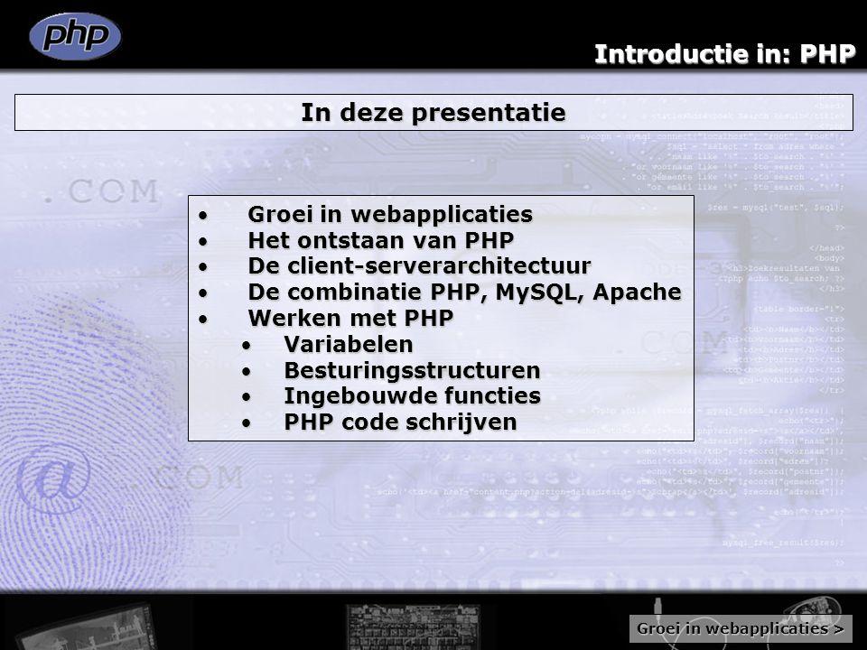 Introductie in: PHP Werken met PHP: PHP code schrijven Overzichtelijkheid in het schrijven van een stuk code staat voorop Aantal principes: InspringenInspringen CommentaarCommentaar Include-opdrachtInclude-opdracht Gebruikers gedefinieerde functiesGebruikers gedefinieerde functies class Test {require test.php ; var $waarde; //eigenschappen$t = new Test; //instantie aanmaken function Test($waarde=0)if(!$t->waarde) {{ //doe wat if {$waarde == 0)} { return ; }Class Test2 extends Test $this ->waarde=$waarde{ // overerving class Test }} Code schrijven: Procedurele codeProcedurele code Object georiënteerde codeObject georiënteerde code Beide hebben voordelen en nadelenBeide hebben voordelen en nadelen Meer informatie >