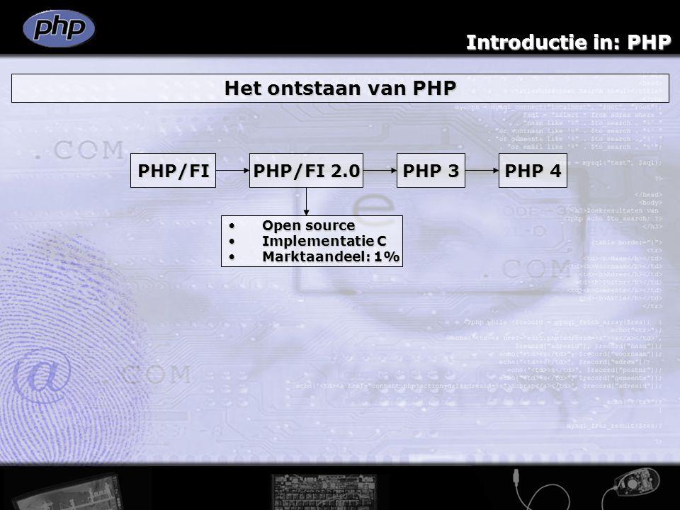 Introductie in: PHP Het ontstaan van PHP PHP/FI PHP/FI 2.0 PHP 3 PHP 4 Zeev SuraskiZeev Suraski Andi Gutmans Meer support voorMeer support voor databases & APIs derden databases & APIs derden Marktaandeel: 10%Marktaandeel: 10%