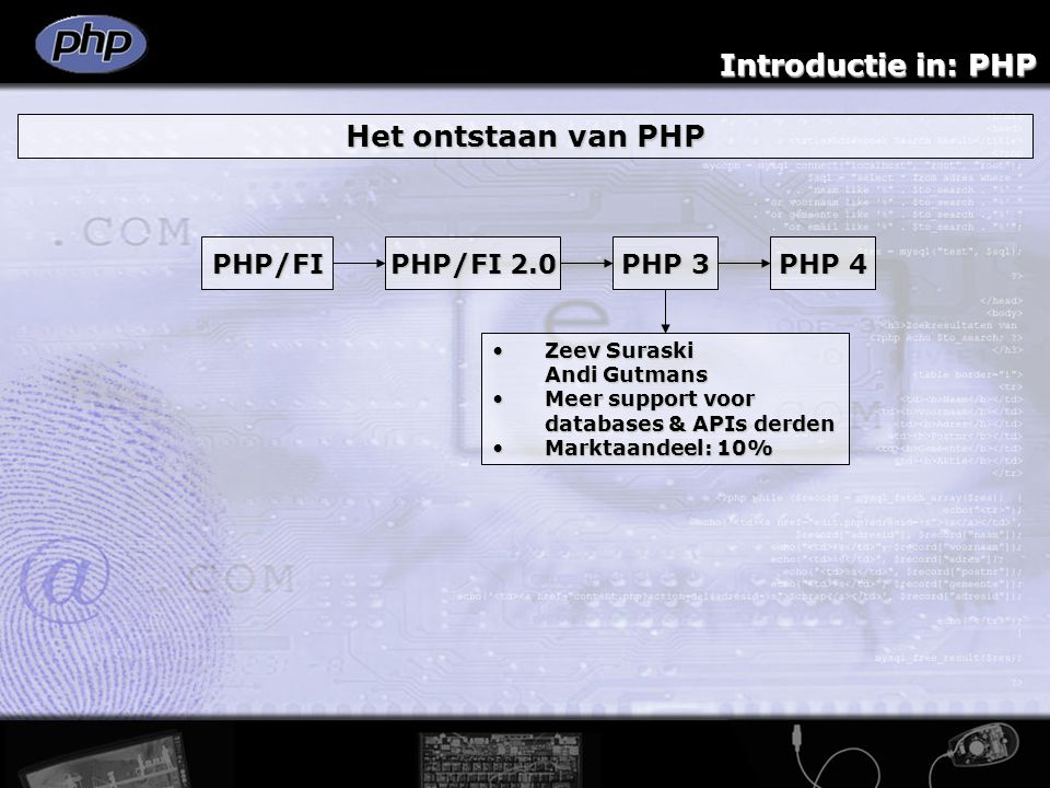Introductie in: PHP Het ontstaan van PHP PHP/FI PHP/FI 2.0 PHP 3 PHP 4 Zend engineZend engine Verbeterde performanceVerbeterde performance Diverse uitbreidingenDiverse uitbreidingen SAPISAPI Marktaandeel: 20+%Marktaandeel: 20+% PHP 4 architectuur Client-serverarchitectuur >