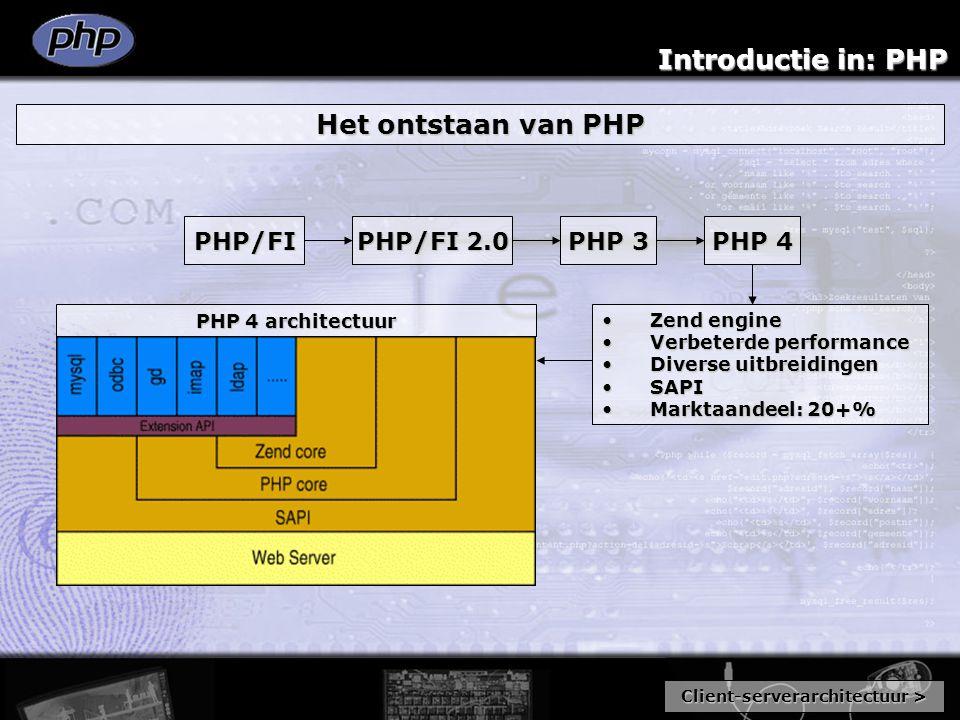 Introductie in: PHP Het ontstaan van PHP PHP/FI PHP/FI 2.0 PHP 3 PHP 4 Zend engineZend engine Verbeterde performanceVerbeterde performance Diverse uit