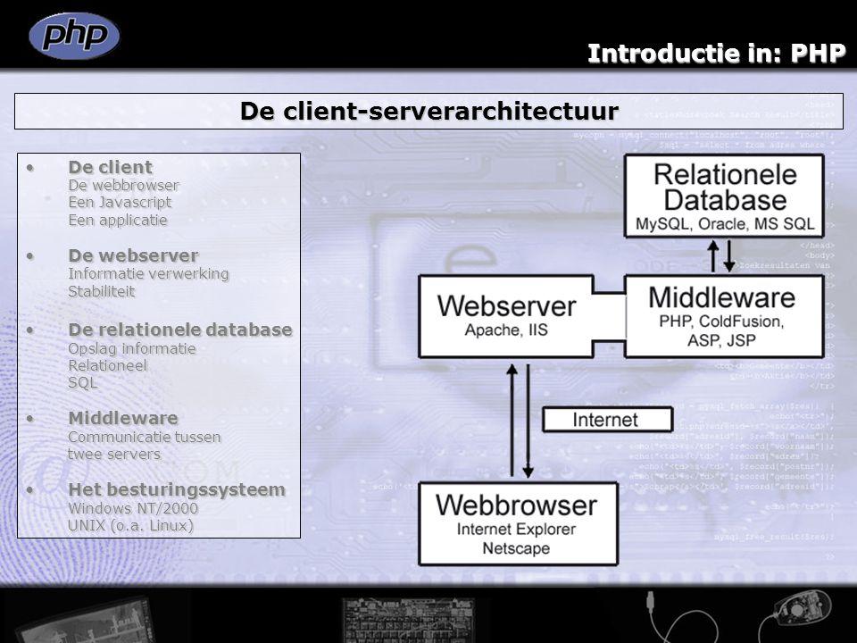 Introductie in: PHP Werken met PHP: Variabelen Een PHP omgeving heeft tal van ingebouwde variabelen